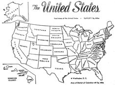 US Coloring Map- I print this out for Sophia to color each