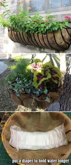 Hanging basket with burlap instead of preformed coir liners will save you money and put a diaper to hold water longer