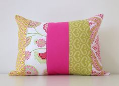 Floral Patchwork Pillow Cover, Lumbar Pillow, 12x16 Inches, Nursery, Living Room, Girls Room, Spring Decor, Hot Pink and Green,