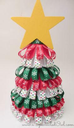 Ribbon Christmas Tree tutorial by Tara from A Spectacled Owl. Christmas Arts And Crafts, Unique Christmas Trees, Diy Christmas Ornaments, Christmas Projects, Simple Christmas, Christmas Tree Decorations, Holiday Crafts, Christmas Holidays, Christmas Brunch