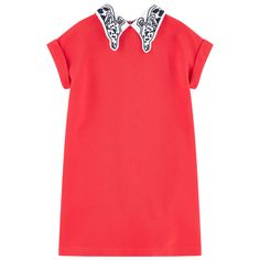 Synthetic jersey Collar: Cotton percale Details: Cotton poplin Flared cut Fancy collar Short sleeves Stitched turn-ups Slit pockets Invisible zipper at the back Embroideries   Small logo patch on the heels - $ 128.10