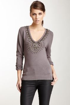Jeweled V-Neck Sweater by Love Token on @HauteLook