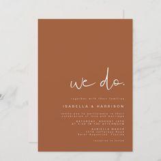 Minimalist Invitation, Minimalist Wedding Invitations, Simple Wedding Invitations, Elegant Wedding Invitations, Wedding Invitation Templates, Modern Minimalist Wedding, Minimalist Design, Burnt Orange Weddings, Celebration Love