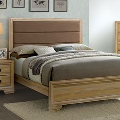 Renee Queen Bed CM7660Q Descriptions : Brighten up your bedroom with this lighthearted bedroom set. Upholstered in soft fabric, the padded headboard provides comfort to sit up and lean against. A high headboard and low footboard design accentuates the contemporary style and the natural wood finish evokes a warm and homey atmosphere.   Features : Contemporary Style Padded Fabric Headboard Felt-lined Top Drawers English Dovetail Drawer Bracket Feet Faux Wood Veneer & Others* Natural Finish…