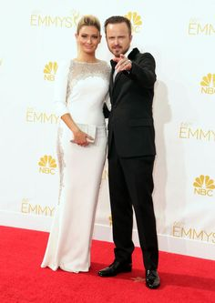 Aaron Paul and Lauren Parsekian #Emmys #Emmys2014 #Stylamerican