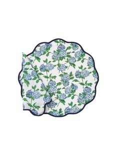 Heidi's placemats are the perfect table accessory to elevate any table setting. Featuring her signature elegant scalloped trim, the graceful hydrangea pattern is block print by hand. High on decorative appeal, this set also makes a wonderful gift for any special occasion. PRODUCT DETAILS * Set includes: 4 napkins and 4 circle placemats * 100% cotton * Machine washable * Block printed * Handmade in Jaipur, India Summer Flowers, Blue Flowers, New Home Wishes, Table Setting Inspiration, Indian Block Print, Table Accessories, Placemat Sets, Blue Hydrangea, Cotton Napkins