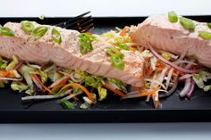 Green Tea-Poached Salmon With Asian Slaw