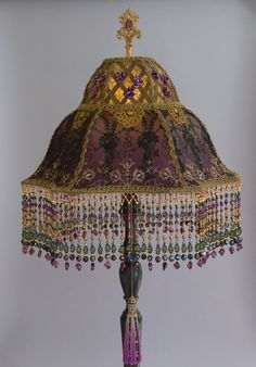 victorian lampshade with violets