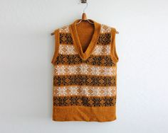 snowflake patterned knit vest / v neck by PaintYourWagonShop