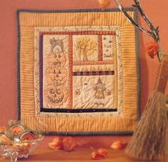 Halloween wall hanging using embroidery--and crayons! From the book Creepy Crafty Halloween.