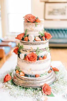 Semi Naked Wedding Cake With Fresh Flowers & Fruit | Matt Ethan Photography