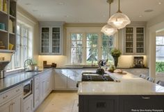 this feel - open shelving, lots of windows, some upper cabinetry, but no stove in island...