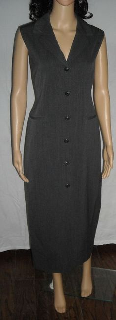 $20.00 Susie Tompkins Elegant Long Gray Button Front Sleeveless Dress Size 10 Lined #SusieTompkinsEspritdecorp #ShirtDress #WeartoWork