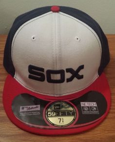 New Era Chicago White Sox Authentic Retro Baseball Hat Cap 7 Fitted Chicago White Sox, Baseball Gear, New Era 59fifty, Mlb, Nike Men, Socks, Seasons, Retro, Fitness