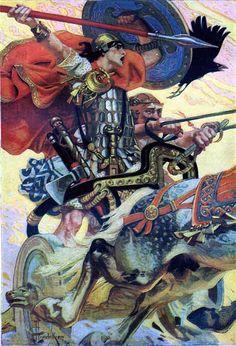 Cu Chulainn Art And Illustration, American Illustration, Jc Leyendecker, Irish Mythology, Celtic Art, Art Graphique, Norman Rockwell, Art Plastique, Les Oeuvres