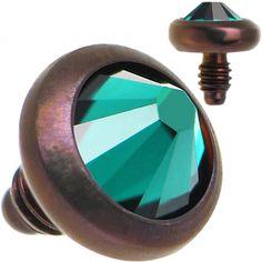 14 Gauge 3mm Emerald Green Gem Bronze Anodized Titanium Dermal Top   Body Candy Body Jewelry #bodycandy