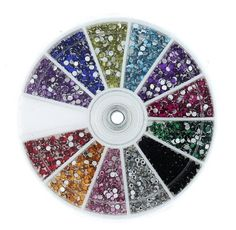 MASH Rhinestones 2400 Piece 12 Color Nail Art Nailart Manicure Wheels - Introducing MASH's first nail art accessory!Retail for up to !These premium MASH rhinestones can be applied with top coat or glue.Mash, Top quality nail art sup Diy Rhinestone Nails, Nail Art Rhinestones, Nail Jewels, Nail Art Strass, Nail Art Wheel, Acrylic Tips, Glam And Glitter, Nail Art Supplies, Round Nails