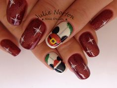 Designs for christmas ideas about Christmas manicure, pretty nails and Holiday nail art. As if ombre nails are not cool enough, this holiday nail design uses a glitter ombre with painted Christmas ornaments on each nail. The look is intricate and fun . Disney Christmas Nails, Xmas Nails, Disney Nails, Christmas Manicure, Holiday Nail Designs, Holiday Nail Art, Nail Art Designs, Great Nails, Cute Nails