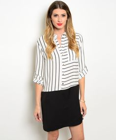 Combination dress features a striped bodice with button closure and contrasted solid min skirt.|- Spring Summer Fall Winter Fashion www.psiloveyoumoreboutique.com