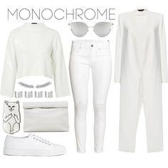 Make It Monochrome by joslynaurora on Polyvore featuring Topshop, Alice + Olivia, H&M, Joseph, Marie Turnor, Maison Margiela, Chicnova Fashion, monochrome, white and coat