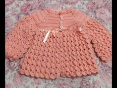 Casaquinho de Croche Passo a Passo - Saida da Maternidade em Croche - YouTube Crochet Baby Dress Pattern, Crochet Baby Cardigan, Crochet Bebe, Baby Girl Crochet, Knit Crochet, Baby Set, Crochet Crocodile Stitch, Baby Sewing Projects, Crochet Doll Clothes