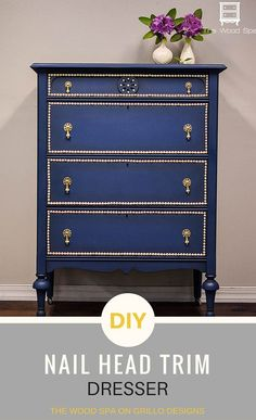 DIY Nail Head Trim Dresser Patricia from The Wood Spa shares how she updates a standard wooden dresser into this stunning blue masterpiece using nail head trim. Full DIY tutorial here Painting Wooden Furniture, Refurbished Furniture, Furniture Makeover, Furniture Refinishing, Woodworking Furniture, Wood Spa, Diy Daybed, Cheap Bedroom Decor, Bedroom Ideas
