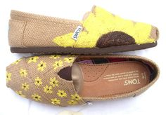 The Sunflower  Yellow Sunflower Custom TOMS by FruitfulFeet, $125.00  these are too cute