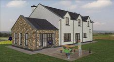 dorm104 House Designs Ireland, 2 Storey House Design, Kitchen Diner Extension, Bootroom, Rural House, Building A House, Gazebo, House Plans, Exterior