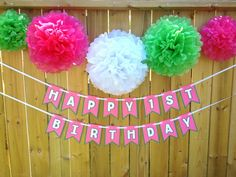 Custom Watermelon Party Banner with FIVE 5 Tissue Poms by JaeMakes 1st Birthday Banners, Girl Birthday, Green Watermelon, Tissue Pom Poms, Happy 1st Birthdays, Little Miss, Pink And Green, Shapes, Party