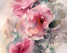 Rose painting shabby pink roses original pink by ARTandDecorations