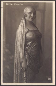 Dirce Marella, Italian Singer and Silent Film Actress, In Assuit Gown, circa 1920s