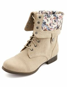 Floral-Lined Fold-Over Combat Boots: Charlotte Russe - http://AmericasMall.com/categories/juniors-teens.html