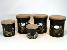 156) Good Vintage/retro set of five Denby Bakewell ceramic storage jars Est. £20-£30