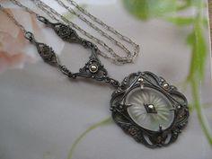 Deco Sterling Camphor Glass Lavalier , Estate Jewelry