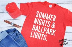Summer nights and ballpark lights Summer shirt Softball mom