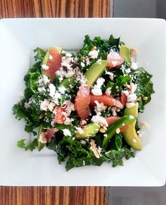 My all time favorite kale salad with crab, avocado, grapefruit, peppers, and pinenuts. A must try!
