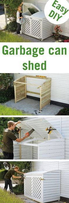 Garbage cans don't exactly fit into a beautiful garden. Keep them out of sight with this stylish garbage can shed!Garbage cans don't exactly fit into a beautiful garden. Keep them out of sight with this stylish garbage can shed! Diy Garden Furniture, Diy Garden Projects, Outdoor Projects, Garbage Can Shed, Garbage Can Storage, Pergola, Shed Interior, Outdoor Sheds, Trash Bins