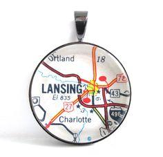 Road Map Pendant of Lansing Michigan from by CarpeDiemHandmade, $10.00