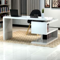 Modern Furniture Home stunning modern home office desks with unique white glossy desk