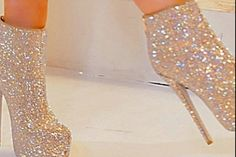 Sparkly high heel boots
