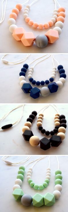 Women's Teething Necklaces - stylish teething accessories handmade from 100% non-toxic silicone and wooden beads by Zie and Me - check out their teething jewellery for dad's too!