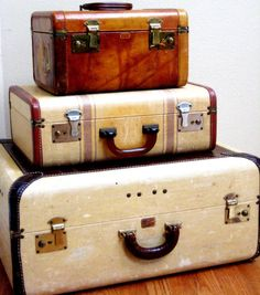 Large Vintage Paul Bunyan Trunk, leather vanity case and medium suitcase.