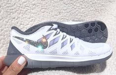 Crystal Nike Free White Pure Platinum Clear Gray Bling Womens Running Shoes w Swarovski Crystals : Shop Hot Nike Roshe Run Shoes from nike top ten store with Fast Shipping And Easy Returns Nike Free Shoes, Nike Shoes Outlet, Running Shoes Nike, Gray Nike Shoes, Roshe Run Shoes, Nike Roshe Run, Nike Shox, Nike Free Runners, Cute Shoes