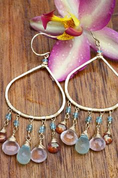 The Vittoria Earrings Pink Topaz Aqua Chalcedony by AdelinaaMare