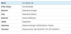 Icici Bank Ltd> Rajasthan> Malarana Station> Malarana Dungar http://www.mybankifsccode.com/ifsc-code/icici-bank-ltd/rajasthan/malarana-station/malarana-dungar