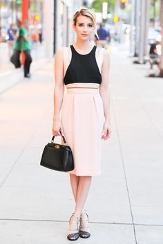 Emma Roberts had us thinking pink in her pretty pastel dress, while attending a Beverly Hills Fendi event.
