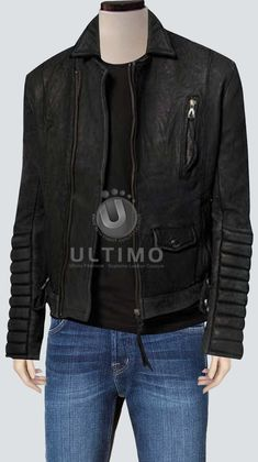 Black Bomber Leather Jacket With Stylish Sleeves  Jacket Features:   Outfit type: Faux Leather Jacket Gender: Male Color: Black Front: Front Zip Closure Collar: Shirt Style Collar Lining: Viscose Lining Cuffs: RoundCuffs Pockets: Threepockets on Front & Two