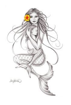 """Keiki Embrace"" Mermaid Art by Mary Beth"