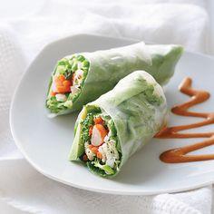 Chicken & Shrimp Spring Rolls with Peanut Sauce
