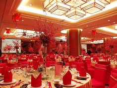 chinese wedding banquet decor.  Not this extreme, but maybe the color